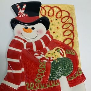 Fitz and Floyd Holiday - Fitz and Floyd Snowman Tray Sugar Coated Christmas